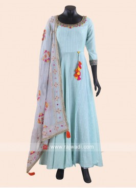 Light Blue Floor Length Anarkali Suit