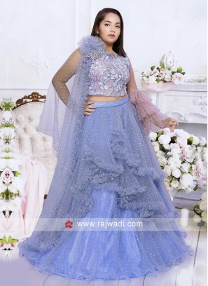 Light blue net fabric choli suti.