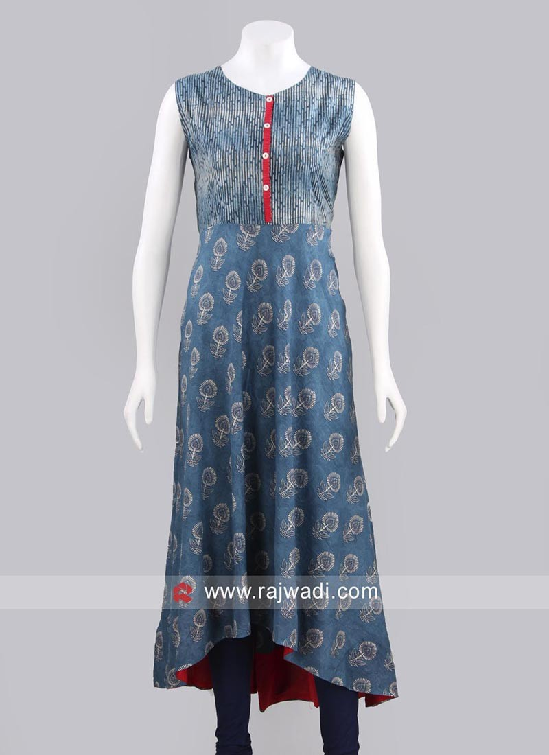 Light Blue Printed Layered Kurti