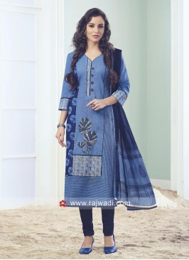 Light Blue Thread Work Churidar Suit