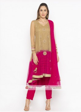 Light Brown And Rani Colour Salwar Suit