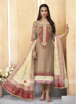 Light Brown Resham Work Churidar Suit