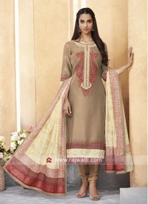 Light Brown Resham Work Churidar Suit