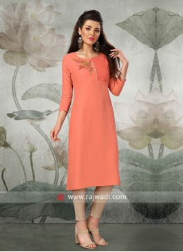 Light Coral Butter Silk Kurti