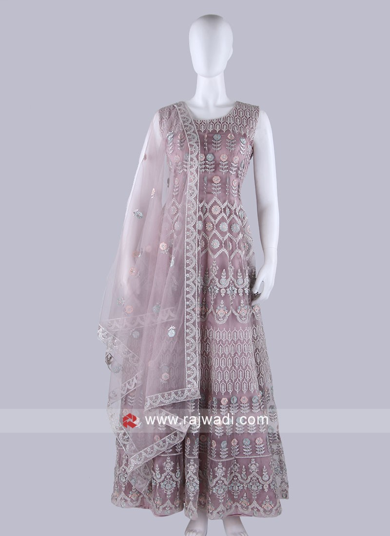 Light Coral Color Anarkali Suit with dupatta