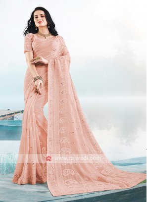 Attractive Lucknowi Work Saree