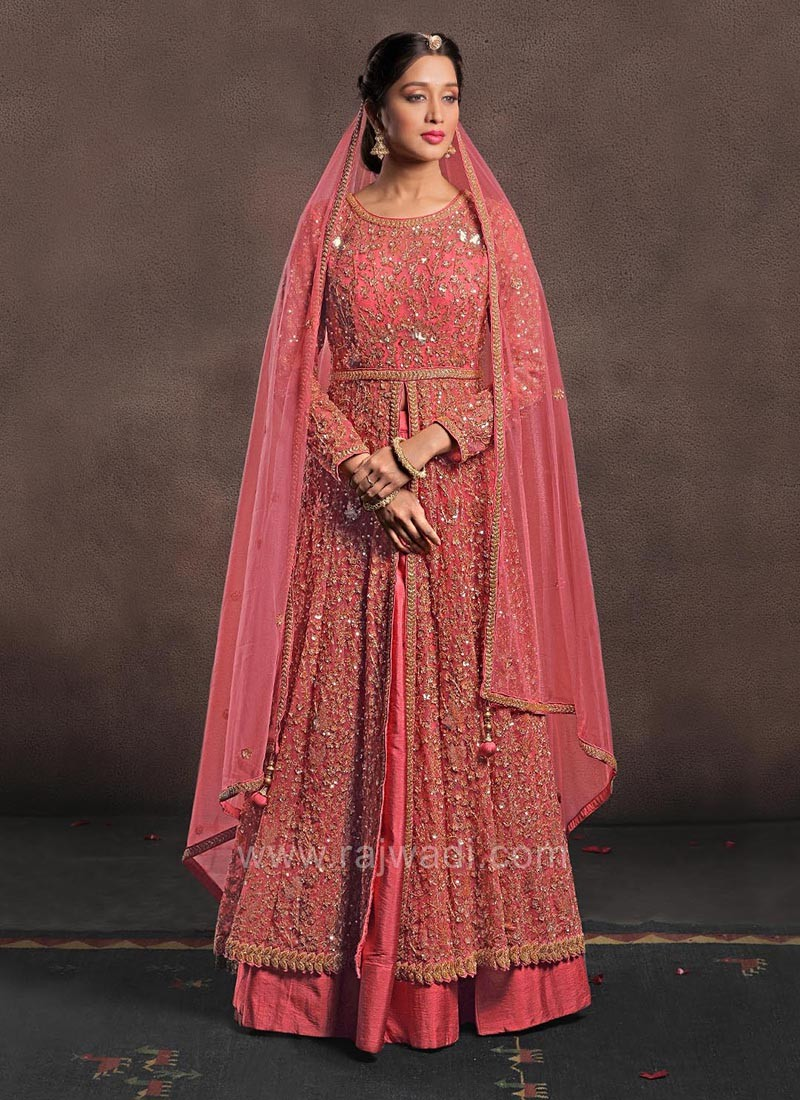 Light Coral Embroidered Choli with Lehenga and Chunni
