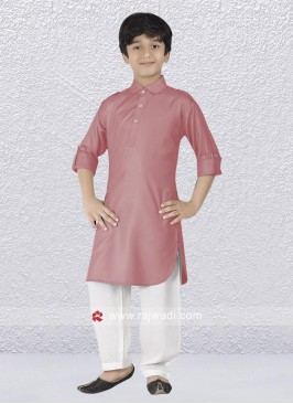 Light Coral Party wear Pathani Suit