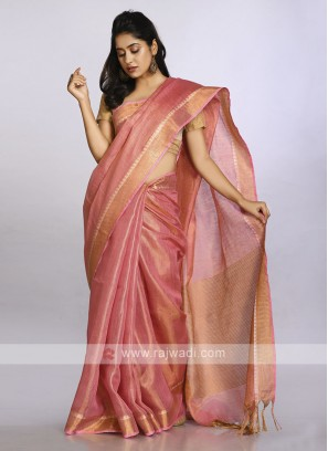 Light coral plain casual saree