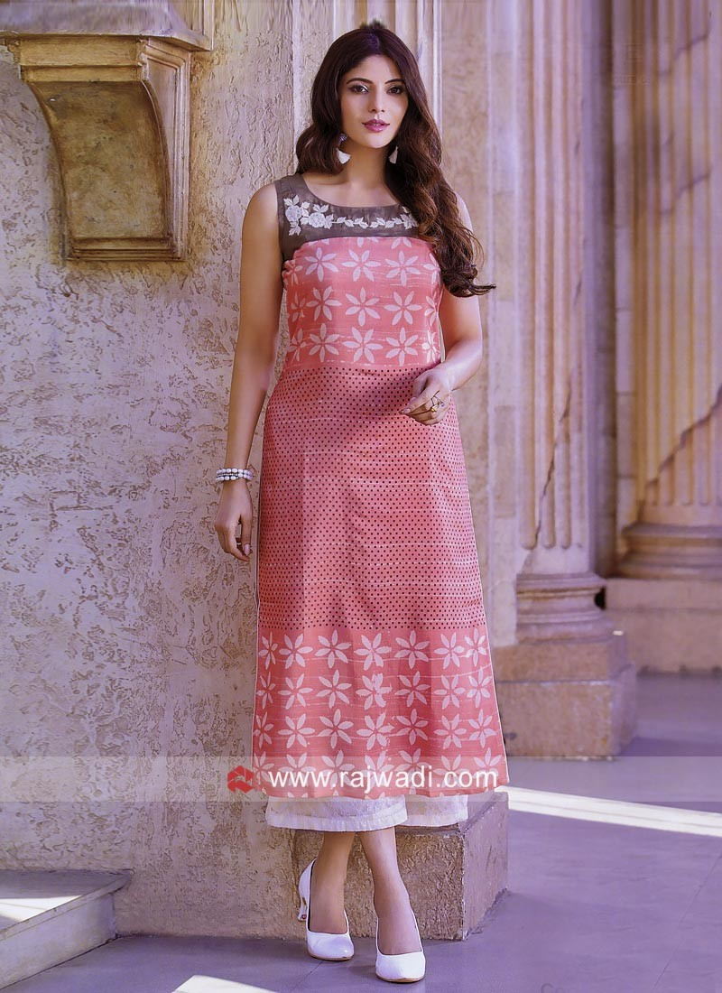 Light Coral Soft Silk Tunic