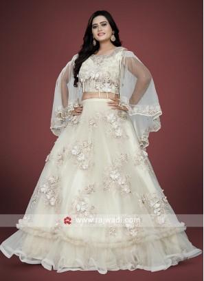 Light cream color net choli suit