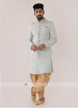Light Cyan Color Mens Indo-Western