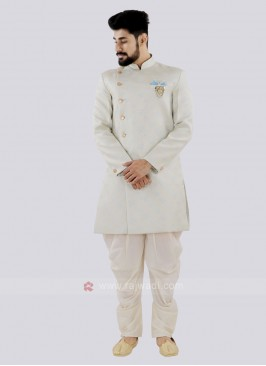 Light Firozi And Off White Patiala Suit