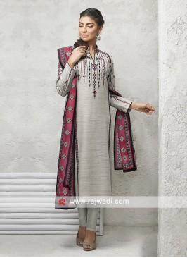 Light Grey Salwar Suit with dupatta
