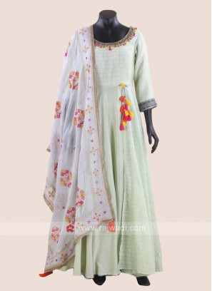 Light Green Anarkali Suit with Embroidered Neckline