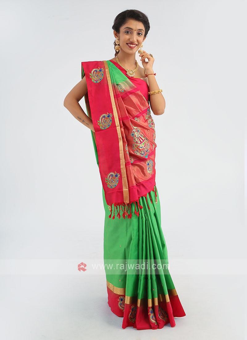 Light Green And Rani Silk Saree