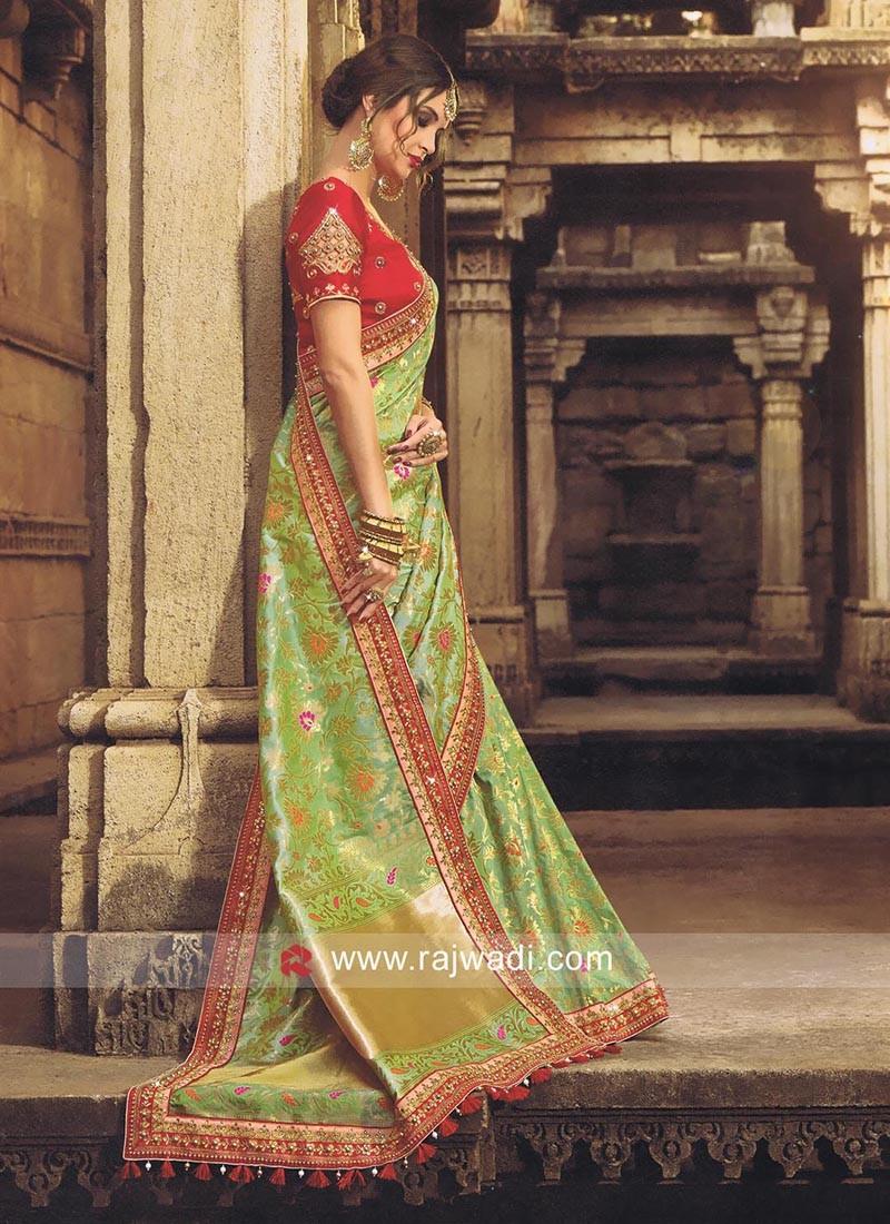 Light Green Banarasi Saree