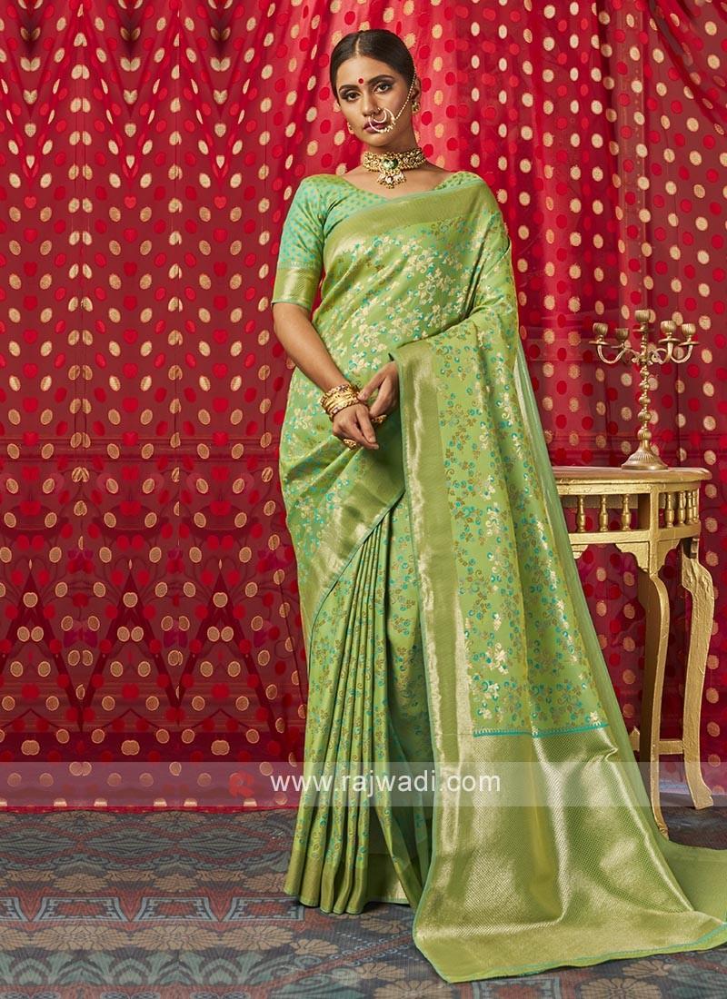 Light Green Banarasi Silk Saree