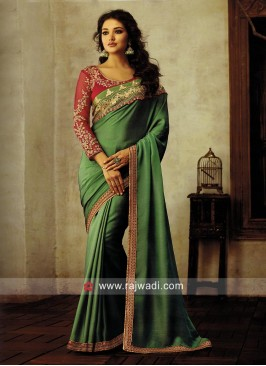 Light Green Border Work Saree