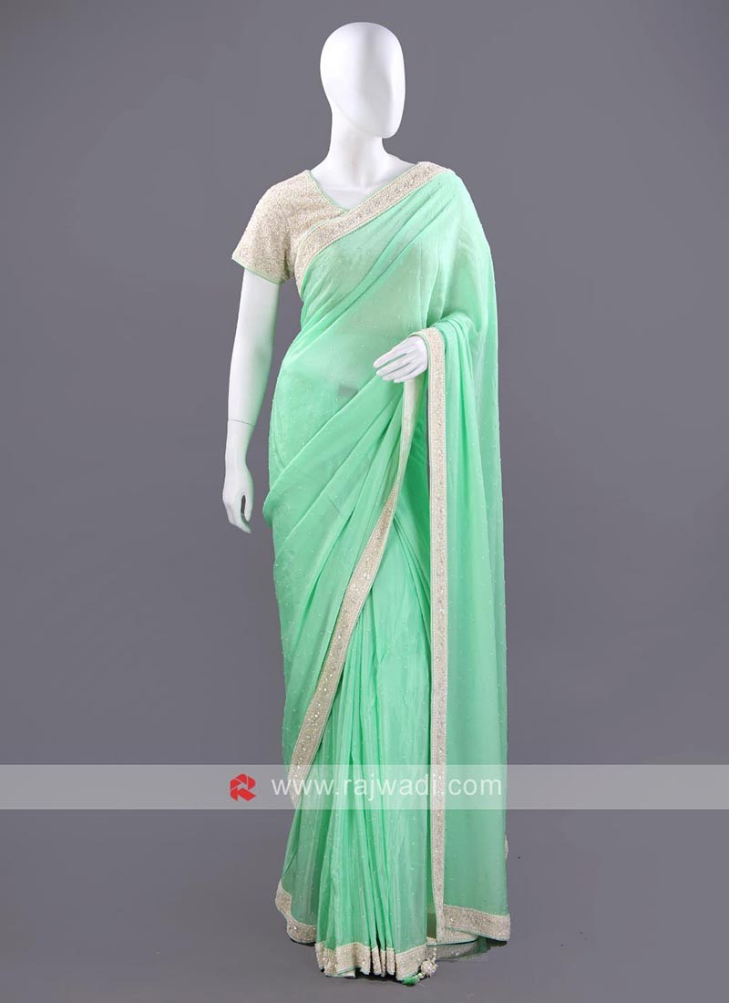 Light Green Chiffon Silk Saree