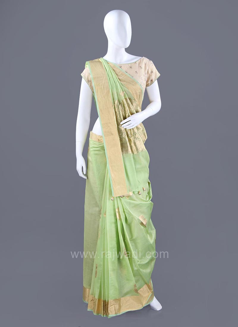 Light Green Choli Saree with Contrast Border