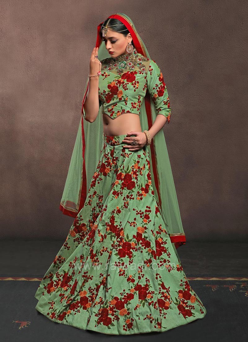 Light Green Choli Set with Colorful Floral Embroidery