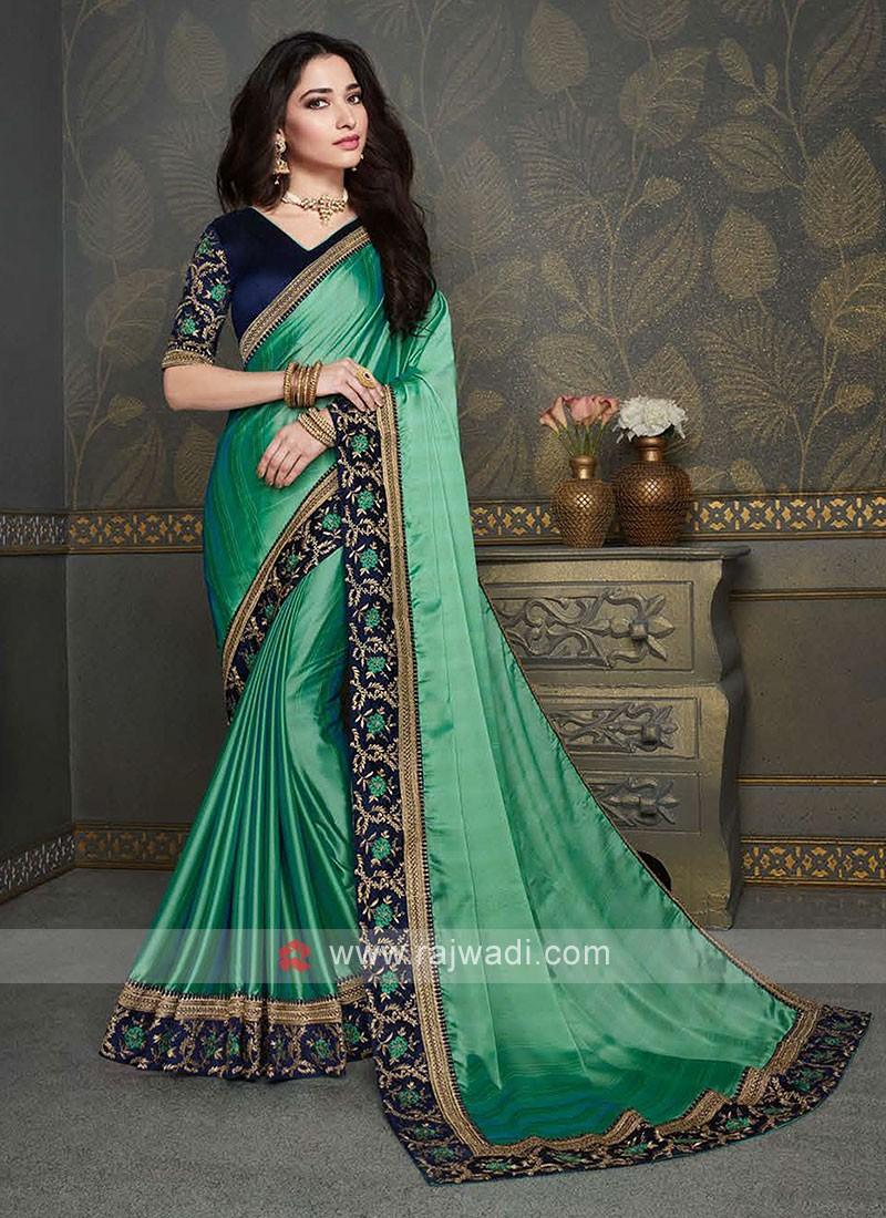 Light Green Color Chiffon Silk Saree
