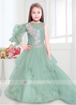 Light Green Color Girls Choli Suit