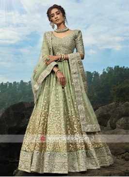 Light Green Color Lehenga Choli With Dupatta