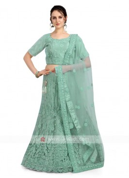 Light Green Color Net Lehenga Choli