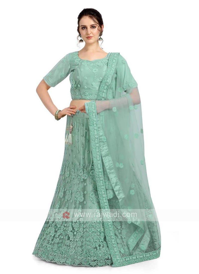 Light Green Color Net Lehenga Choli