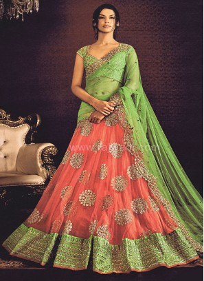 Light Green coloured Lehenga Saree
