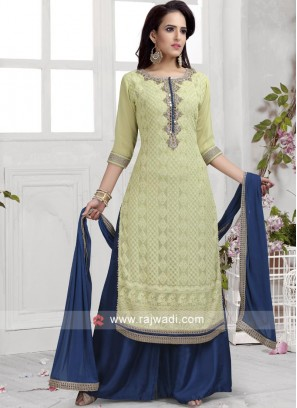 Light Green Designer Palazzo Suit