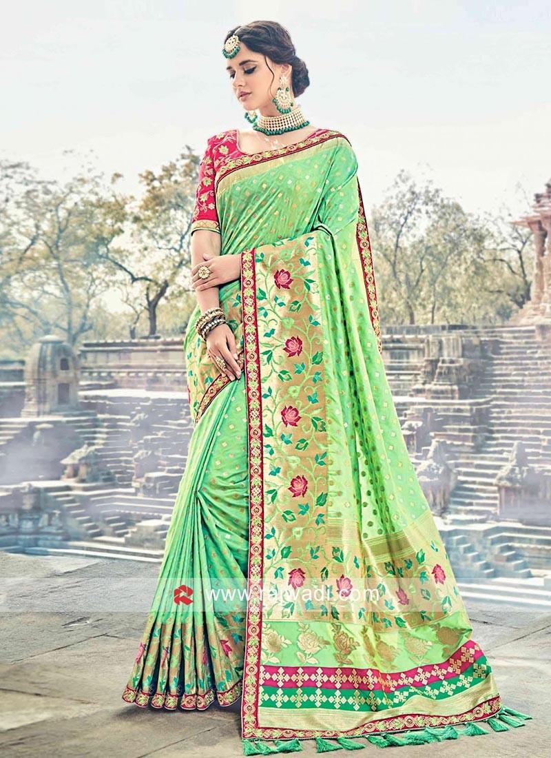Light Green Embellished Sari with Tassels