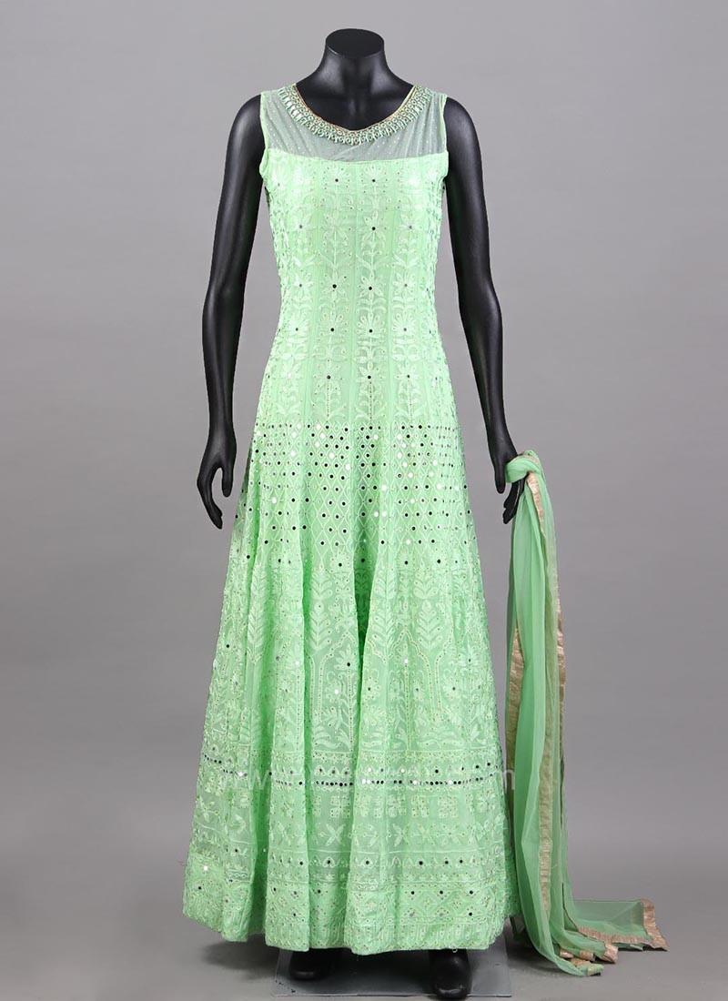 Light Green Embroidered Anarkali Dress