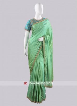 Light Green Embroidered Choli Saree