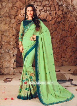 Light Green Embroidered Saree