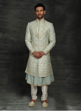 Light Green Exclusive Silk Anarkali Sherwani For Groom
