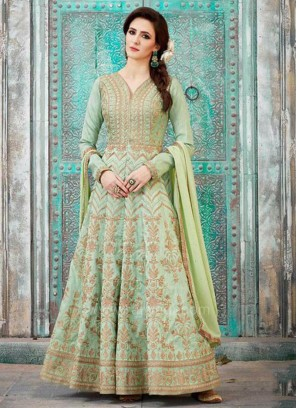 Light Green Floor Length Anarkali Dress Material