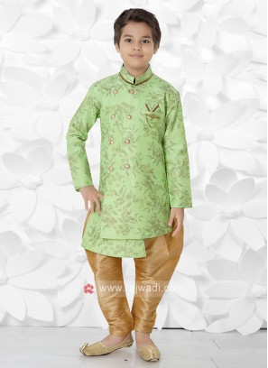 Light Green & Golden Indo Western For Boys