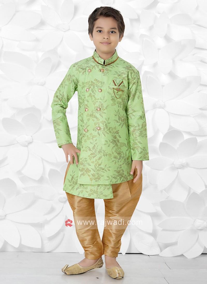 Light Green & Golden Indo Western For Boys