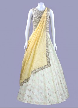 Light Green Peacock Design Gown with Dupatta