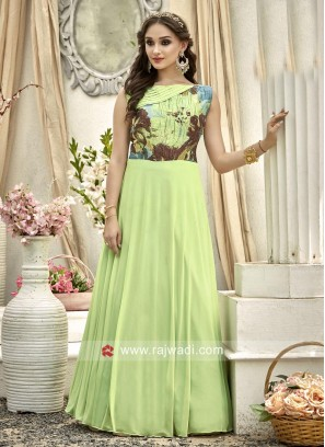 Light Green Printed Long Gown