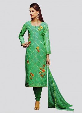 Light Green Round Neck Churidar Suit