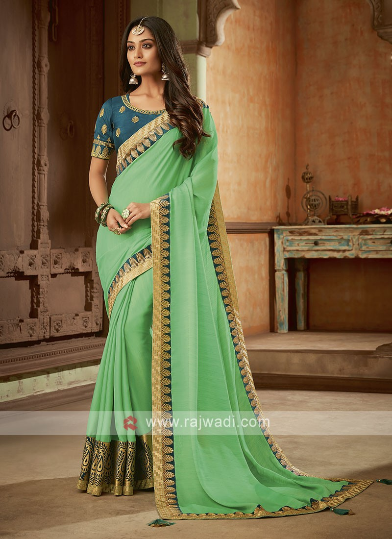 Light Green Saree with Contrast Blouse