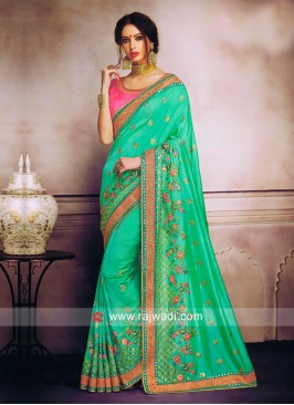 Light Green Saree with Pink Blouse