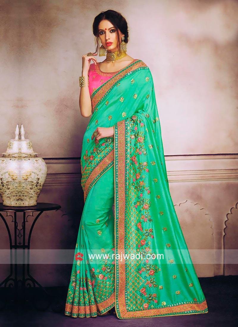 Light Green Saree with Pink Blouse