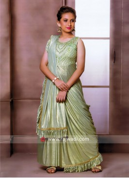 Light Green Shimmer Gown with Attached Dupatta