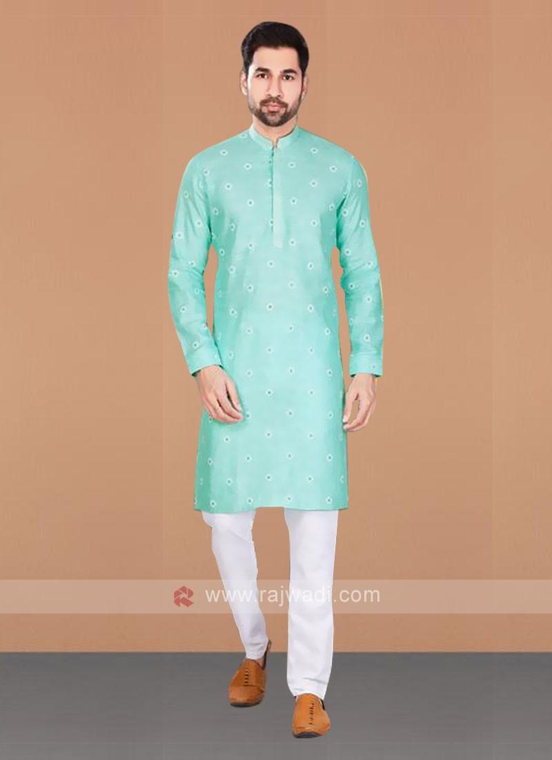 Light Green & White Kurta Pajama