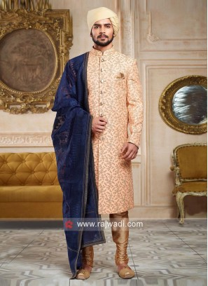 Peach Zari Embroidered Sherwani With Stylish Dupatta